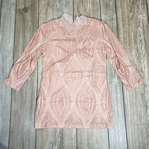Free People Womens Size L Mauve Eyelet Nylon Top